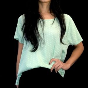 💎 AE pastel green polka dot oversized silky top